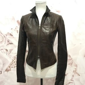 VEDA Brown Leather Jacket - Size: Small